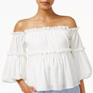 Boho Ruffled Off Shoulder Top with Puffy Sleeves